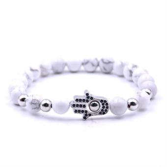 HYHONEY Micro Pave CZ Palm Charm Bracelets for Women 8mm Natural Stone Beads BraceletsBangles Men Jewelry pulseras