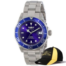 Sale Invicta Pro Diver Men 40Mm Case Silver Stainless Steel Strap Blue Dial Automatic Watch 9094 And Baseball Cap Hat Export Invicta Original