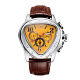 Great Deal Jaragar Fashion Cool Triangle Case Automatic Men Mechanical Watch Luxury Leather Strap Man Casual Wristwatch With Date Week 24H Sub Dials