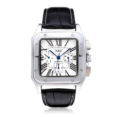 Discount Jaragar Square Roman 3 Dial Week Calendar Leather Mechanical Men Watch Intl