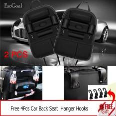 Coupon Jvgood 2 Psc Car Backseat Organizer Pu Leather Auto Back Car Seat Organizer Holder Pocket Storage Kick Mats With 4 Hooks Black