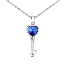 Top Rated Key 18K Platinum Plated Cubic Zirconia Crystal Pendant Necklace Blue Intl