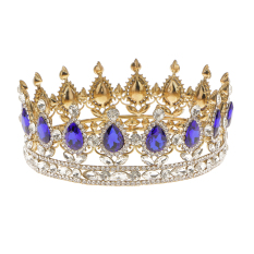 King Queen Bridal Crown Rhinestone Tiaras Gold Plated Hair Jewelry Blue - Intl By Magideal.