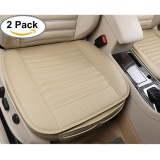 Latest Kobwa Edge Wrapping Car Front Seat Cover 2Pcs Universal Breathable Pu Leather Bamboo Charcoal Auto Office Interior Seat Protector Cushion Pad Mat Beige Intl
