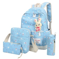 Kobwa Girls Canvas Backpack,5 Set Cute Rabbit School Bag Laptop Travel Backpack,shoulder Bag,purse,pencil Case And Cute Rabbit For Teenage Girls Students - Intl By Kobwa Direct.