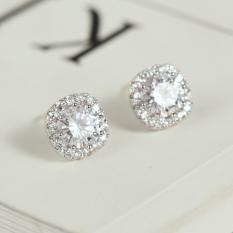 f083b181b S925 simple diamond set Japanese and Korean style female elegant earrings  stud