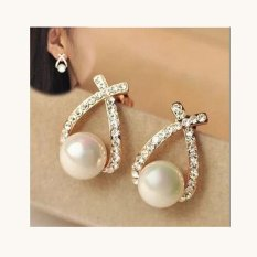 Korea Style Bridal Simulated Pearl Rhinestone Clip On Earrings Without Piercing For Women Wedding Fashion Ol
