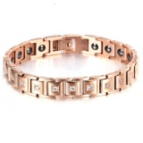Latest Korean Jewelry Bracelet Female Health Titanium Steel Simple Temperament Diamond Studded Germanium Stone Bracelet Plated 18K Rose Gold Jewelry Intl