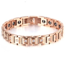Where To Shop For Korean Jewelry Bracelet Female Health Titanium Steel Simple Temperament Diamond Studded Germanium Stone Bracelet Plated 18K Rose Gold Jewelry Intl