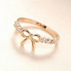 Korean Jewelry Simple Crystal Bow Ring Gd - Intl By Joomia.