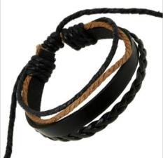 Kuhong Fashion Wrap Twisted Rope Wrist Leather Bracelet Bangle Jewelry - intl