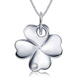 Low Cost Large Four Leaf Clover Sterling Silver Pendant Necklace Intl