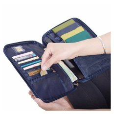 Large Passport Organiser Wallet Family Mens With Over 18 Slots Pockets For Travel Documents Blue Oem Discount