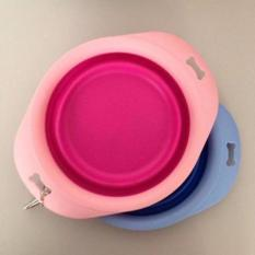 Best Large Pet Travel Silicon Foldable Bowl Pink