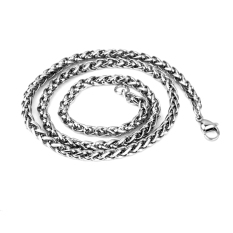 Buy Leadsea 3Mm 28 Mens Silver Stainless Steel Wheat Braided Chain Necklace Intl Oem Cheap