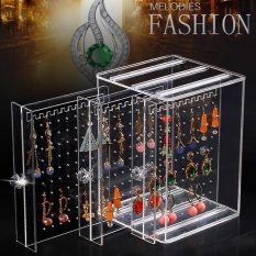 Cheap Leegoal Acrylic Jewelry Storage Box Earring Display Hanging Stand Organizer Holder Rack With 3 Vertical Drawer Clear Intl