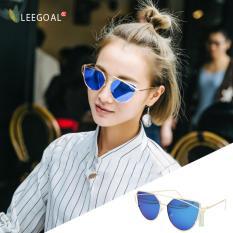 leegoal Fashion Women Sunglasses Sunscreen Anti-UV Color Film Sunglasses , Gold And Blue -