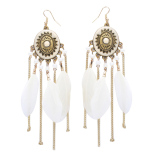 Long Feather Tassel Fringe Jewelry Vintage Chain Tassel Earrings White Intl Vakind Cheap On China