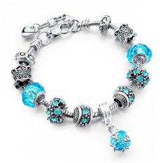 Latest Longway European Style Authentic Tibetan Silver Blue Crystal Charm Bracelets For Women Original Diy Beads Jewelry