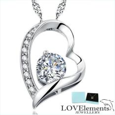 Lovely Silver Necklace Forever Love Dazzling Silver Heart Flawless Cz Diamond Pendant Necklace For Ladies Fashioned By Lovelements™ Jewellery Perfect Gift Promo Code