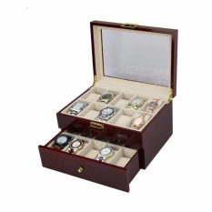 Sale Luxury 20 Slot Rose Wood Watch Storage Box Inner Beige Oem On Singapore