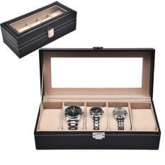 Luxury 5 Slot Watch Storage Box Black Pvc With Inner Beige Sale
