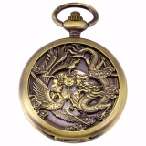 Brand New Luxury Hollow Dragon Case Hunter Roman Steampunk Skeleton Craft Mechanical Pocket Watch Jewel Chain Hand Winding Clock Wpk230 Intl