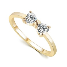 Luxury Metal Zircon Bowknot Wedding Engagement Ring Gold 8 - Intl By Joomia.