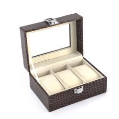 Recent Luxury 3 Slot Watch Storage Box Crocodile Skin Brown