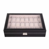 Top Rated Luxury 24 Slot Watch Storage Box Black Pvc With Inner Beige