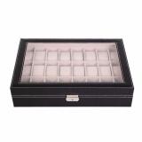 Buy Luxury 24 Slot Watch Storage Box Black Pvc With Inner Beige Oem Cheap