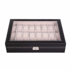 Price Luxury 24 Slot Watch Storage Box Black Pvc With Inner Beige On Singapore
