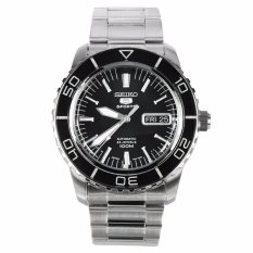 * MADE IN JAPAN * SEIKO 5 SPORTS AUTOMATIC MENS WATCH IN BLACK DIAL & SILVER INDEX SNZH55J SNZH55