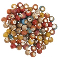 MagiDeal 100pcs Vintage Colors 6mm Loose Ceramic Beads Charms for Jewelry Making 7# - intl
