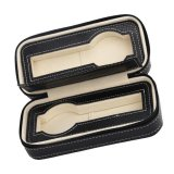 Low Price Magideal 2 Slots Genuine Leather Watch Travel Case Collector Storage Zipper Box Black Intl