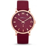 Marc By Marc Jacobs Baker Women S Maroon Leather Watch Mbm1267 Lower Price