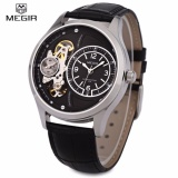 Price Megir 2017G Men Mechanical Watch With Two Working Sub Dials 30M Water Resistance Leather Strap Wristwatch Intl Megir China