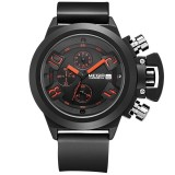 New Megir Brand Men Sports Watches Leather Band Black Military Watch Export