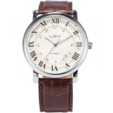 Price Comparison For Men Automatic Mechanical Date Roman Brown Leather Band Business Fashion Wrist Watch Pmw099 Intl