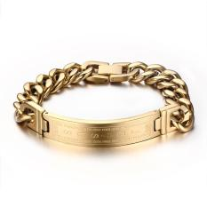 Price Comparisons Of Men Bracelet Curb Chain Religious Cross Id Tag Men S Fashion Jewelry Gold Stainless Steel Bracelets 8 2 Inch Intl