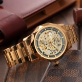 Men Fashion Skeleton Automatic Mechanical Gold Stainless Steel Business Sport Watch Pmw451 Intl Shopping