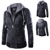Buy Men Hooded Slim Fake Two Pieces Pu Leather Motorcycle Jackets Intl On China