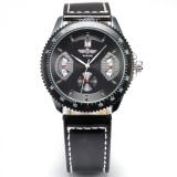 Latest Men Leather Band Self Winding Mechanical Date Wrist Watch Business Style Black Pmw010 Intl