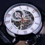 Where To Shop For Men Luxury Brand Mechanical Watch Black Case Roman Number Skeleton Watch Clock