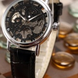 Compare Men Mechanical Wrist Watch Skeleton Hand Wind Up Roman Leather Strap Pmw356 Intl