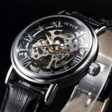 Sale Men Roman Skeleton Hand Winding Mechanical Analog Leather Wrist Watch Pmw243 Intl Sewor