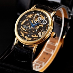 Sale Men Skeleton Gold Steel Hand Winding Mechanical Leather Wrist Watch Pmw197 Intl Cjiaba Wholesaler