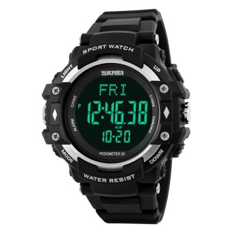 Men Sports Health Watches 3D Pedometer Heart Rate Monitor Calories Counter 50M Waterproof Digital LED Wristwatches
