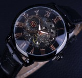 For Sale Men Top Brand Luxury Mechanical Watch Clock Black Bezel Red Roman Display Hollow Engraving Watch