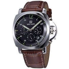Buy Men Top Brand Megir Military Watch Leather Luxury Chronograph Watches Export Cheap China